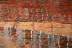 Wet shining surface of red pavement Stock Image