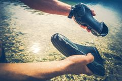 Wet Shoes After Kayaking Stock Image