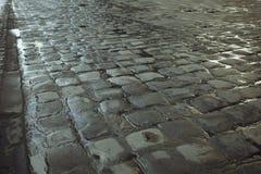 Wet sidewalk after the rain. Closeup shot Royalty Free Stock Photo