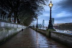Wet sidewalk at the South Bank, London, the UK on a rainy day