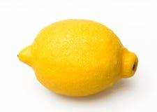 Wet single Lemon. Single Lemon Isolated On White Blackgroud Royalty Free Stock Photography