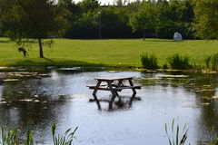 A wet sit in. A nicely placed table somewhere in Sweden Royalty Free Stock Photo