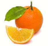 Wet with a slice of orange and leaf Royalty Free Stock Images