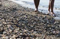 Wet small multi-colored pebbles on the beach. On summer suuny day; Close-up of legs of man and woman that on vacation walking along the edge of the surf royalty free stock photography