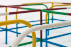 Wet snow colorful playground Stock Photo