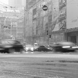 Wet snow and ice on the road Royalty Free Stock Images