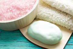 Wet soap with foam, sea salt Royalty Free Stock Photography