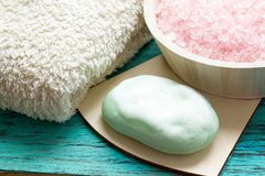 Wet soap with foam, sea salt Royalty Free Stock Images