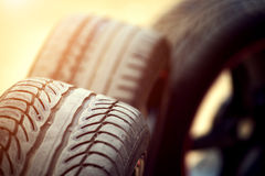 Wet sports rims and tire Royalty Free Stock Images