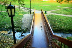 Wet staircase in park Royalty Free Stock Images