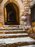 Wet steps in medieval Ajlun castle in Jordan Royalty Free Stock Image