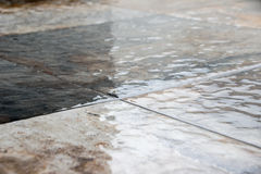Wet stone floor photograph. Otograph of a wet stone floor Stock Photos