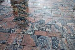 Wet Stone Pavement. Pavement wet in rainy weather stock image