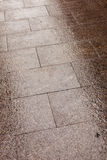 Wet stone pavement in the street Royalty Free Stock Image