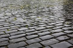 Wet stone pavement texture Royalty Free Stock Photos