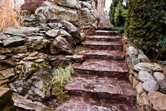 Wet stone steps Royalty Free Stock Photos
