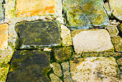 Wet stones of ancient street. Backgroud texture Royalty Free Stock Images