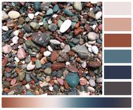 Wet Stones On Beach. Palette With Complimentary Royalty Free Stock Images