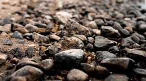 Wet stones lie on the banks of the river. Dark, brown, black Stock Photos