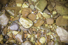 Wet stones in the riverside. Texture and background Royalty Free Stock Photo