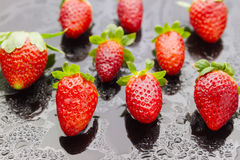 Wet strawberries Royalty Free Stock Photos