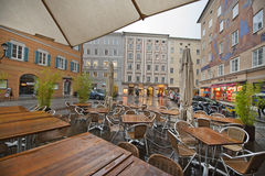 Wet street cafe Stock Photography