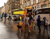 The wet street of Edinburgh. Royalty Free Stock Photography