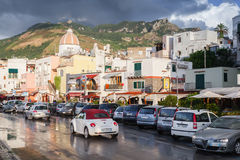 Wet street after the rain with cars, Forio, Ischia Stock Image