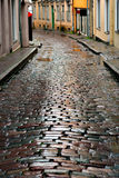 Wet street in Tallinn Royalty Free Stock Images