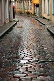 Wet street in Tallinn. Wet cobblestones after rain on narrow street in the old town of Tallinn, Estonia Royalty Free Stock Images