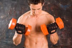 Wet sweaty bodybuilder Stock Photos