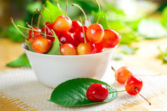 Wet sweet cherry Royalty Free Stock Images