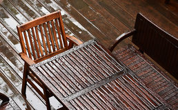 Wet table with chairs Royalty Free Stock Image
