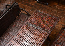 Wet table with chairs Royalty Free Stock Photos