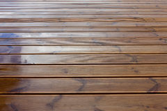 Wet terrace wooden floor Stock Photo