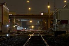 Wet Train Tracks At Night Stock Image