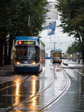 Wet trams in Zurich Royalty Free Stock Photography