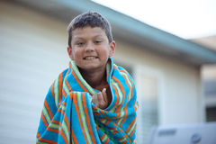 Wet Tween Boy Drying Stock Image