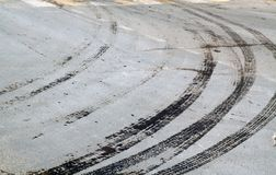 Wet tyre tracks on dirty asphalt road. Abstract background and pattern Royalty Free Stock Image