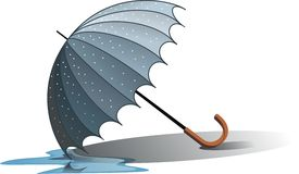 Wet umbrella. Illustration of water dripping off wet umbrella; isolated on white background Stock Images