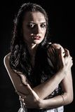 Wet upset woman with a flowed ink Stock Photos
