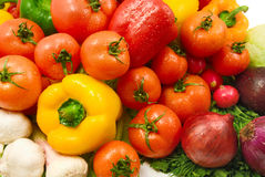 Wet vegetables. Wet fresh raw vegetables background Stock Images