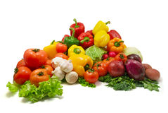 Wet vegetables. Isolated on white background stock photos