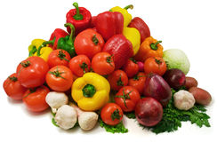Wet vegetables. Isolated on white stock photography