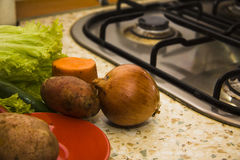 Wet vegetables near stove burner Royalty Free Stock Photography