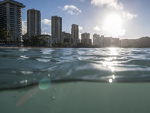 Wet Waikiki Sunrise in Honolulu Hawaii Stock Images