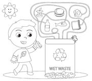 Wet waste recycling coloring game Royalty Free Stock Photos
