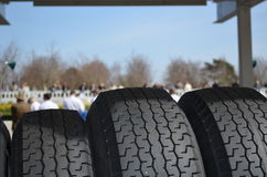 Wet weather tires at race meet. Royalty Free Stock Images