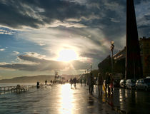 Wet weekend aka damp evening in Nice, France - Promenade des Anglais Royalty Free Stock Image