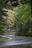 Wet winding road through nice autumn foliage. Stock Photos